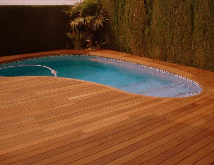 Burma teak decking teak outdoor decking swimming pool for Hardwood timber decking