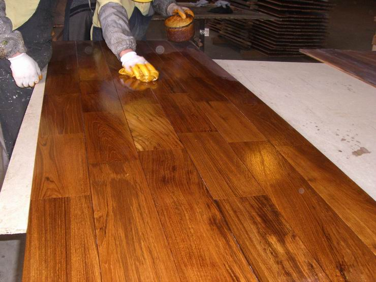 oiled teak flooring surface