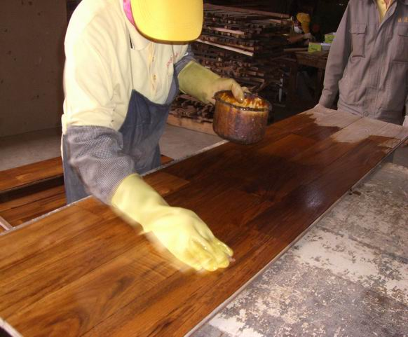 wax oiled teak flooring